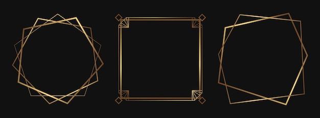 Conjunto de molduras decorativas douradas isoladas em linhas de arte déco com espaço vazio