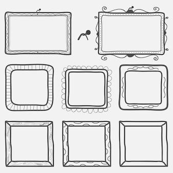 Conjunto de molduras desenhadas à mão. ilustração vetorial.