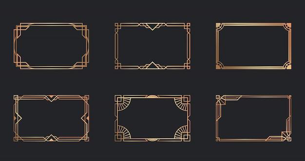 Conjunto de molduras douradas art deco
