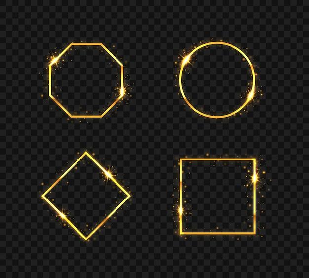 Conjunto de molduras douradas com efeitos de luz isoladas em preto transparente
