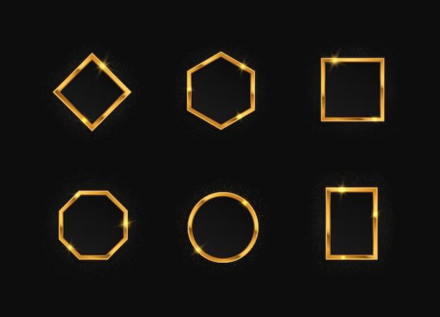 Conjunto de molduras douradas com efeitos de luz