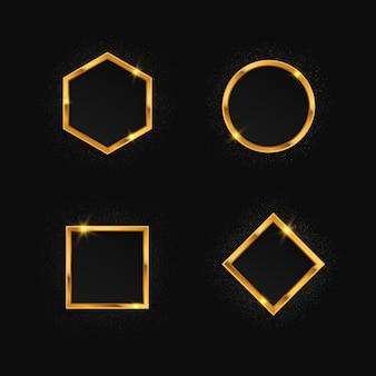 Conjunto de molduras douradas com efeitos de luzes. círculo de brilho, quadrado, polígono, retângulo.