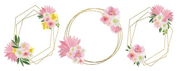 Conjunto de molduras douradas com flores em aquarela rosa