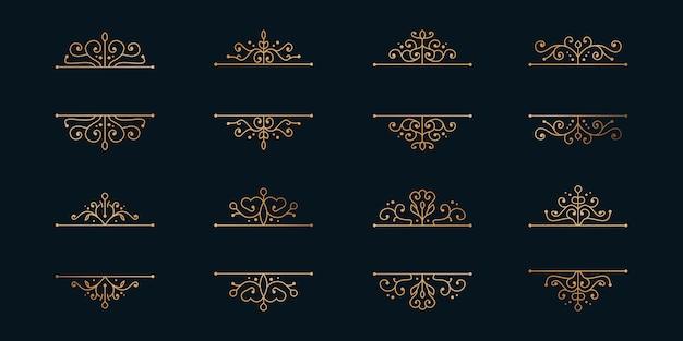 Conjunto de molduras douradas, divisórias minimalistas.