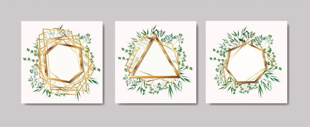 Conjunto de molduras douradas e coroa de folhas