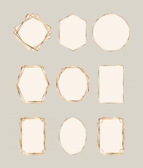 Conjunto de molduras douradas em art déco