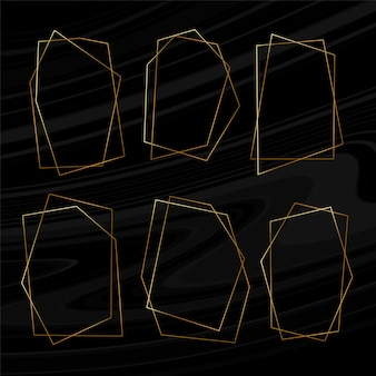 Conjunto de molduras douradas geométricas