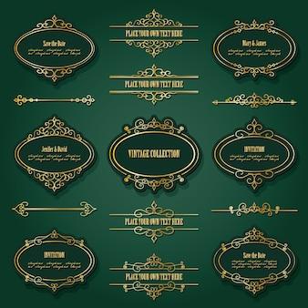 Conjunto de molduras douradas vintage