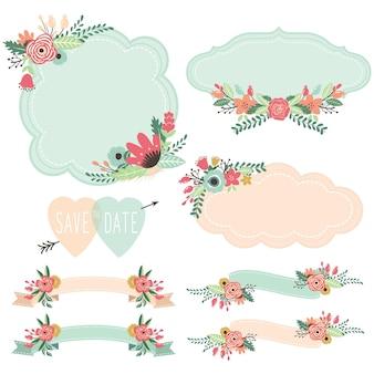 Conjunto de molduras e banners de flores vintage