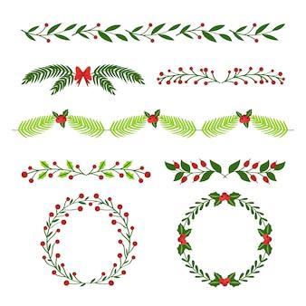 Conjunto de molduras e bordas de natal de mão desenhada