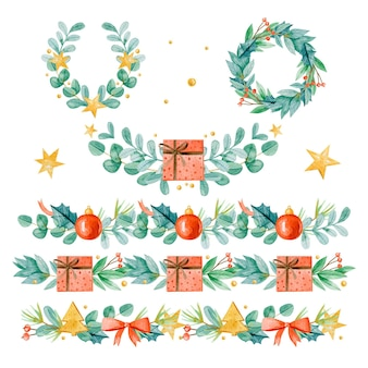 Conjunto de molduras e bordas de natal em aquarela