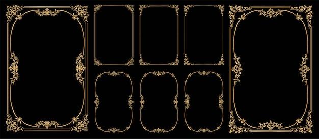 Conjunto de molduras e bordas em fundo preto, moldura dourada com canto