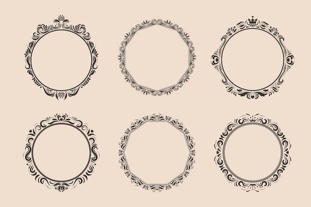 Conjunto de molduras e bordas vintage redondas decorativas. vitoriano e barroco.