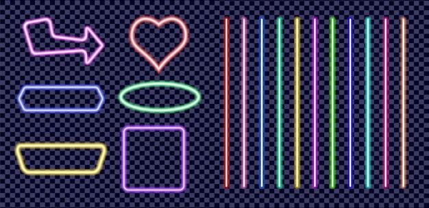 Conjunto de molduras e linhas coloridas de néon