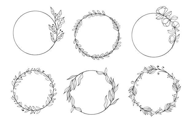 Conjunto de molduras elegantes com folhas