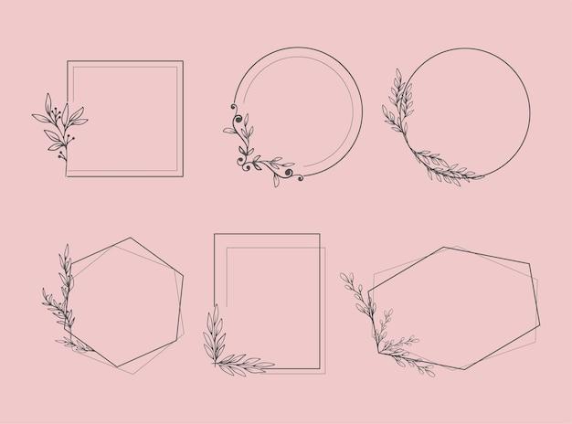 Conjunto de molduras elegantes com plantas e folhas