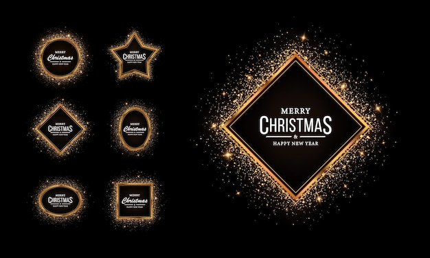 Conjunto de molduras geométricas brilhantes com efeitos brilhantes para o natal molduras douradas com purpurina