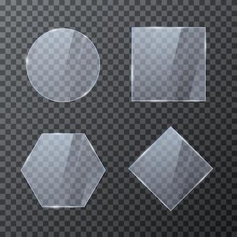Conjunto de molduras geométricas de vidro vazio