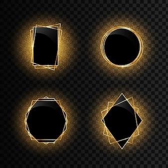 Conjunto de molduras geométricas douradas com efeitos de luz