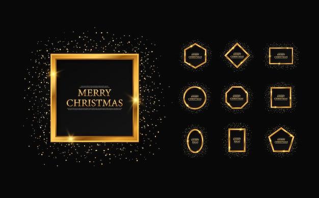Conjunto de molduras geométricas douradas para cartão de natal, natal e ano novo