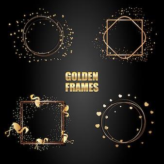 Conjunto de molduras metálicas douradas com brilhos