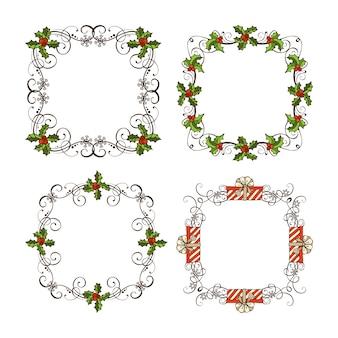 Conjunto de molduras ornamentadas de natal. decorações de página de natal ornamentadas.