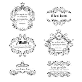 Conjunto de molduras ornamentadas e elementos de rolagem.