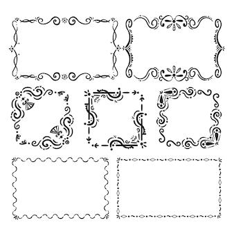 Conjunto de molduras ornamentais desenhadas à mão