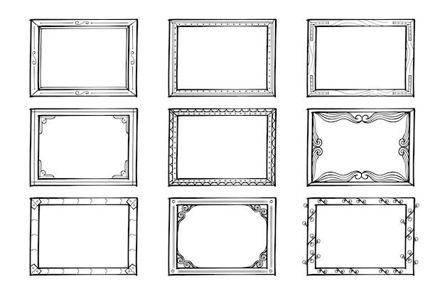 Conjunto de molduras ornamentais desenhadas