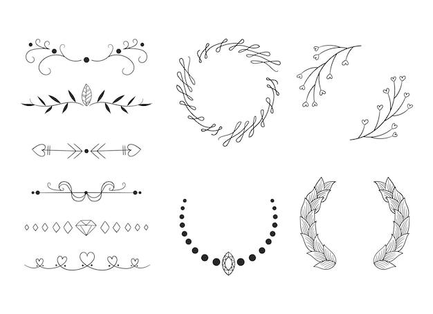 Conjunto de molduras ornamentais e flechas desenhadas à mão