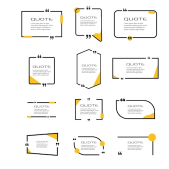 Conjunto de molduras para citações comentário de citação em bolha quadro de citações de texto