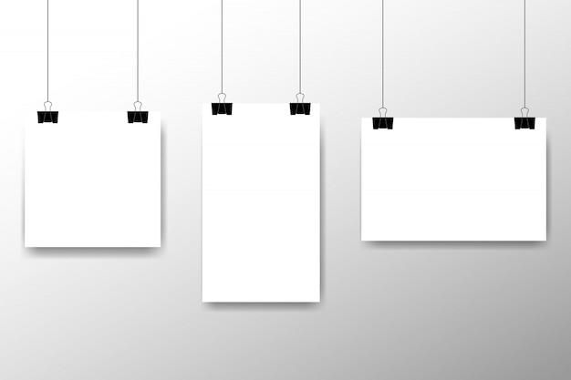 Conjunto de molduras para fotos em branco pendurado em um clipe. estilo vintage retrô. modelo de design de foto vertical e horizontal. lugar vazio preto para o seu texto ou foto. modelo de design realista realista foto ícone.