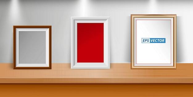 Conjunto de molduras para fotos em branco realistas na mesa ou porta-retratos em branco com luz embutida ou moldura simulada