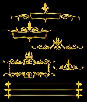 Conjunto de molduras reais de ouro e bordas fundo preto