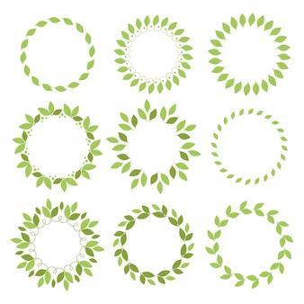 Conjunto de molduras redondas com folhas verdes
