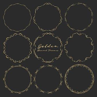 Conjunto de molduras redondas douradas para decoração.