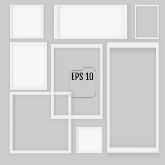 Conjunto de molduras vazias quadradas realistas