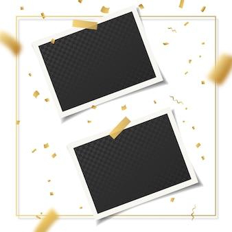 Conjunto de molduras vintage 3d realistas com fita adesiva e confetes dourados