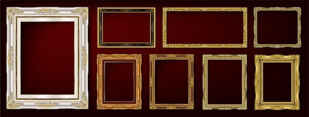Conjunto de molduras vintage decorativas e conjunto de fronteiras