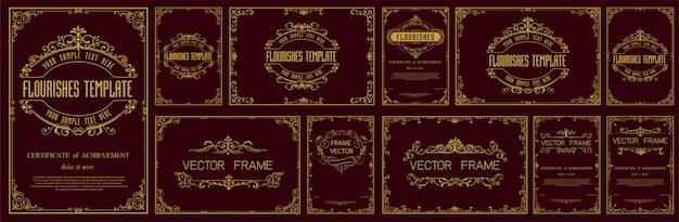 Conjunto de molduras vintage decorativas e fronteiras