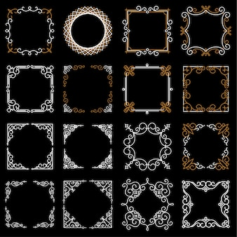 Conjunto de molduras vintage decorativas em estilo de linha mono
