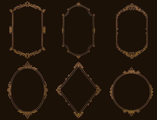 Conjunto de molduras vintage e bordas douradas