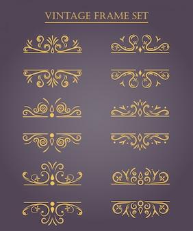 Conjunto de molduras vintage. ilustração vetorial.