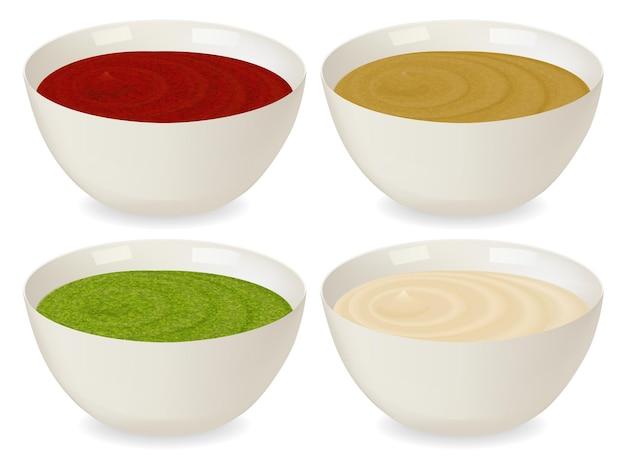 Conjunto de molheiras de porcelana com molhos variados: ketchup, mostarda, pesto, maionese. sobre fundo branco em estilo realista. ilustração vetorial.
