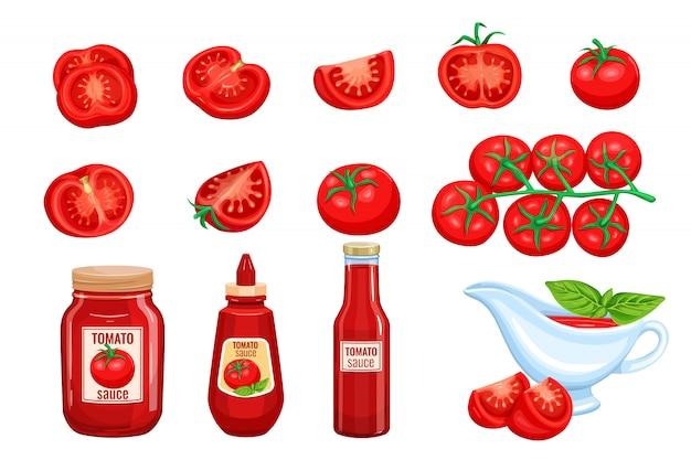 Conjunto de molho de tomate vermelho legumes