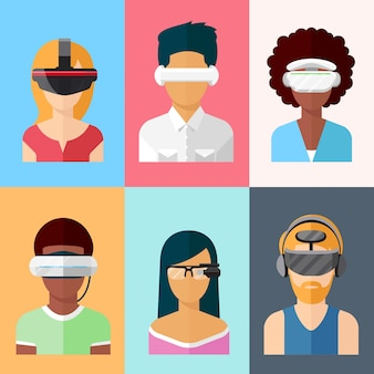 Conjunto de monitores tipo head-mounted de vetor plano. dispositivos de realidade virtual e aumentada. inovação em aplicativos cibernéticos de vidro e jogos