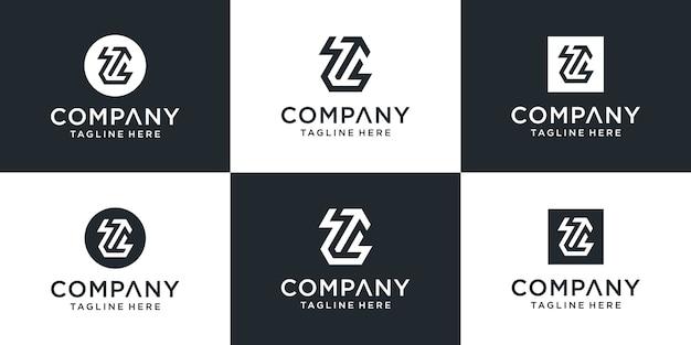 Conjunto de monograma abstrato criativo, letra z com modelo de logotipo de seta para cima