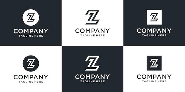 Conjunto de monograma abstrato criativo, letra z e modelo de logotipo número um