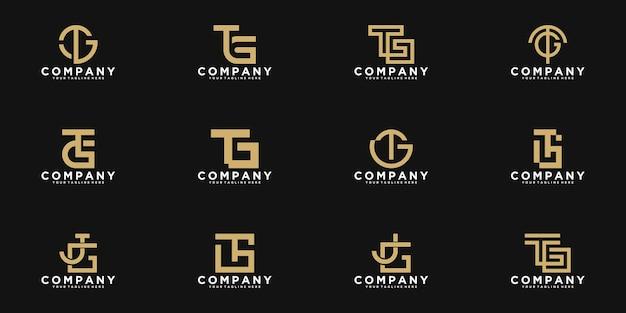 Conjunto de monograma abstrato inicial, letra t, g, modelo de logotipo