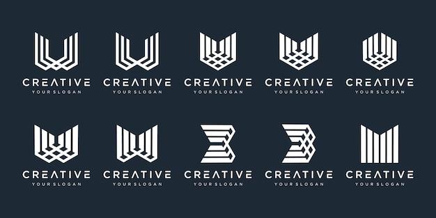 Conjunto de monograma criativo com linhas modernas e elegantes